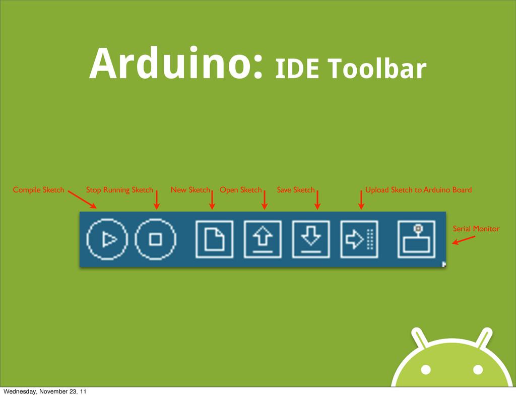 Arduino: IDE Toolbar Compile Sketch Stop Runnin...