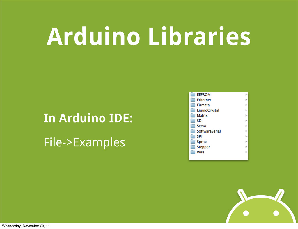 Arduino Libraries In Arduino IDE: File->Example...