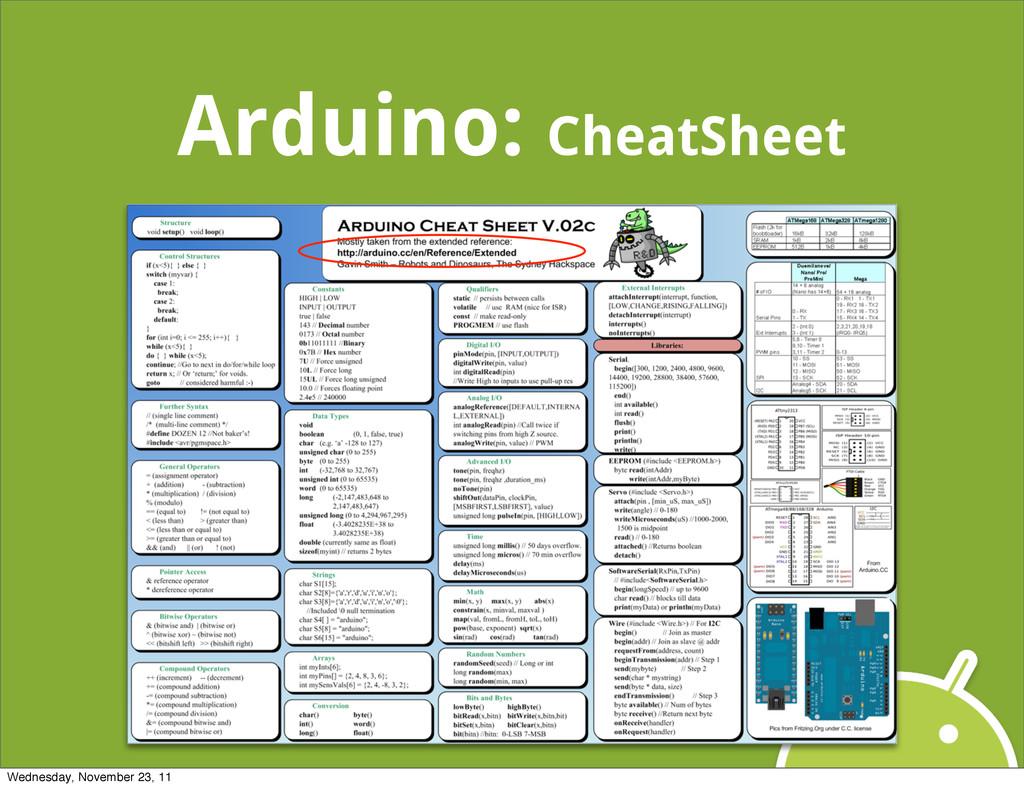 Arduino: CheatSheet Wednesday, November 23, 11