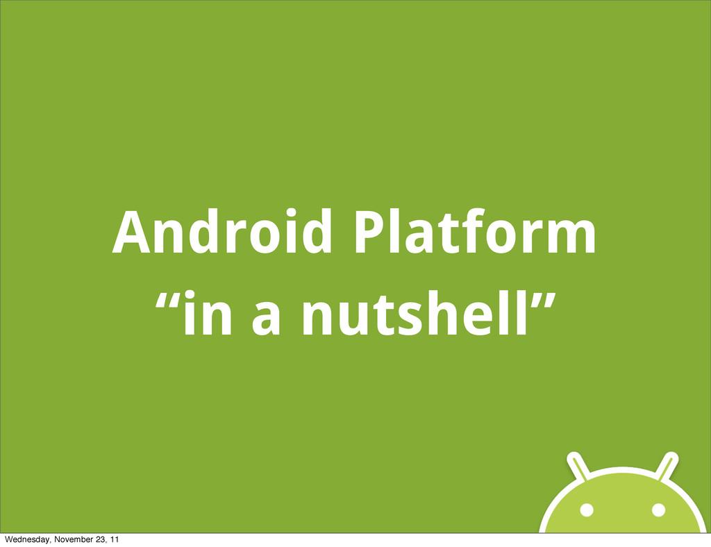"Android Platform ""in a nutshell"" Wednesday, Nov..."