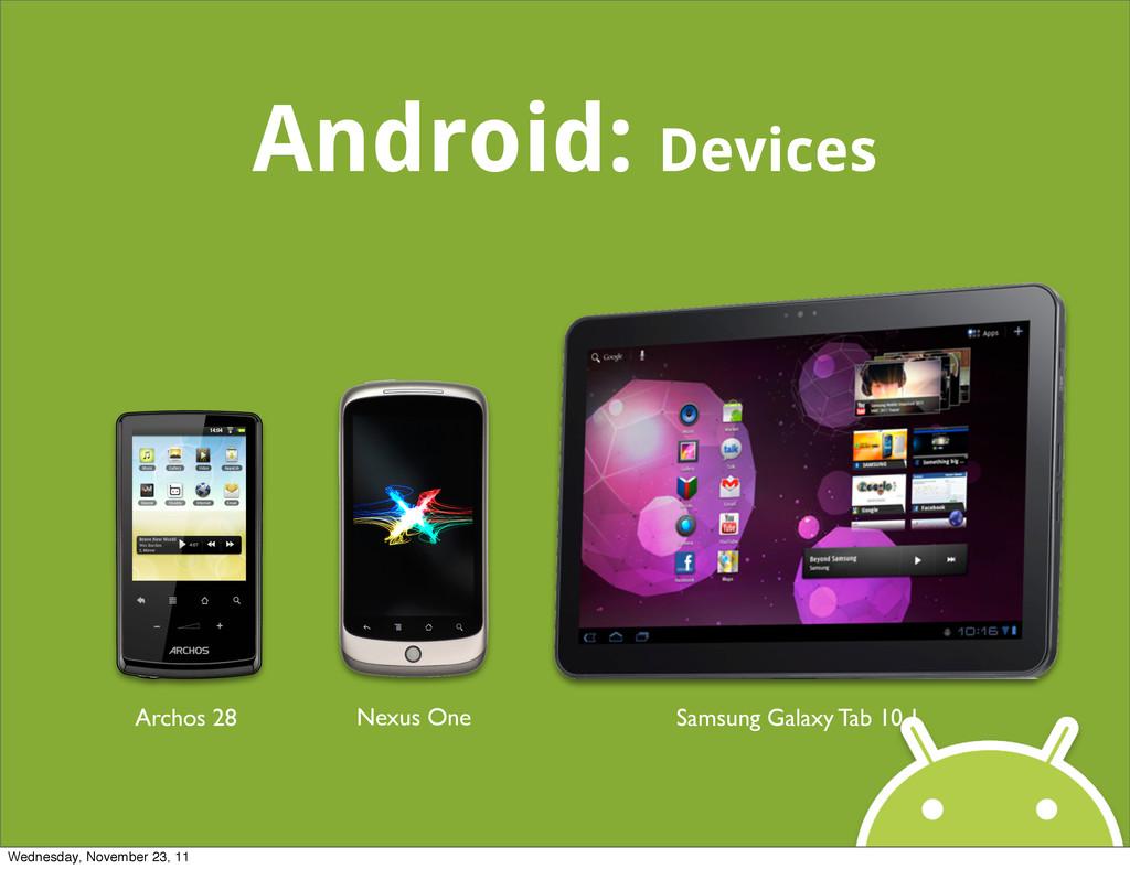 Android: Devices Archos 28 Nexus One Samsung Ga...