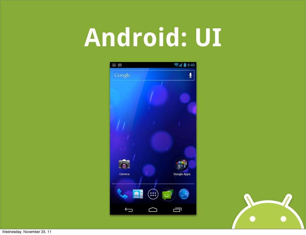 Android: UI Wednesday, November 23, 11
