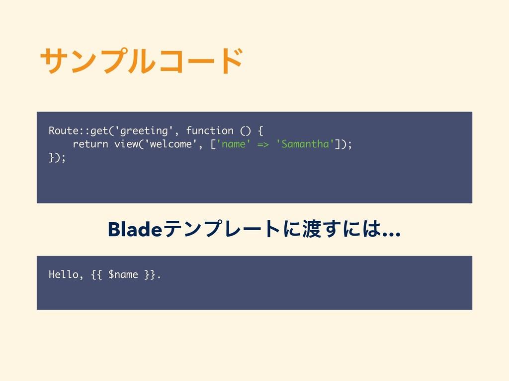 αϯϓϧίʔυ Route::get('greeting', function () { re...