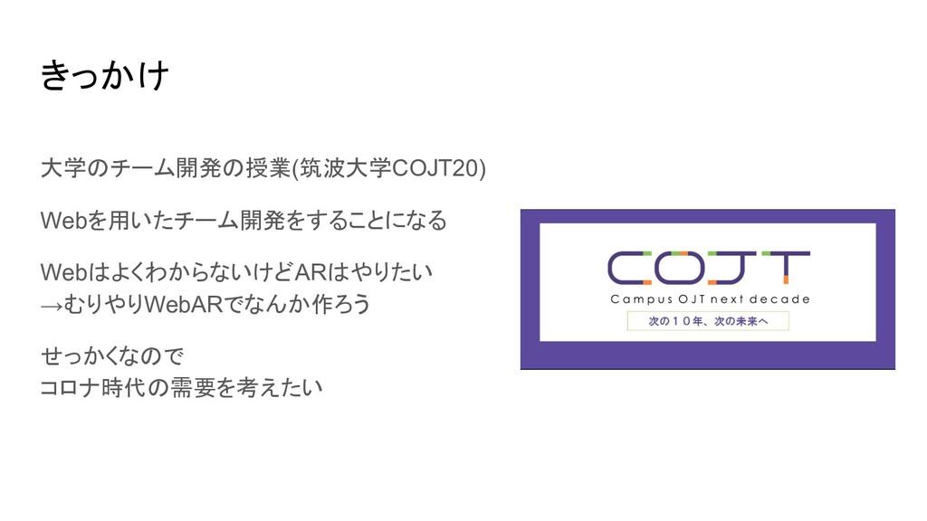 きっかけ 大学のチーム開発の授業(筑波大学COJT20) Webを用いたチーム開発をすることに...