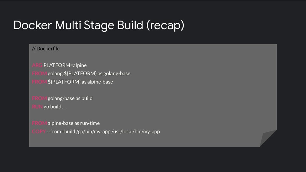 Docker Multi Stage Build (recap) // Dockerfile A...