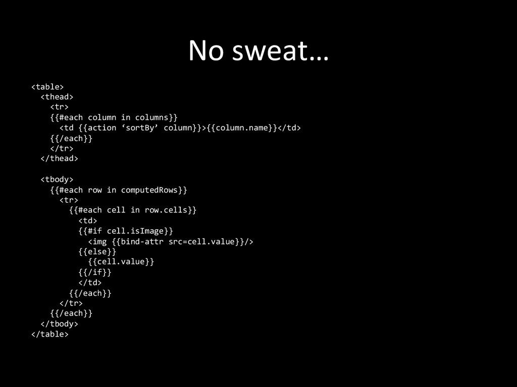 No sweat…  <table>    <thead> ...