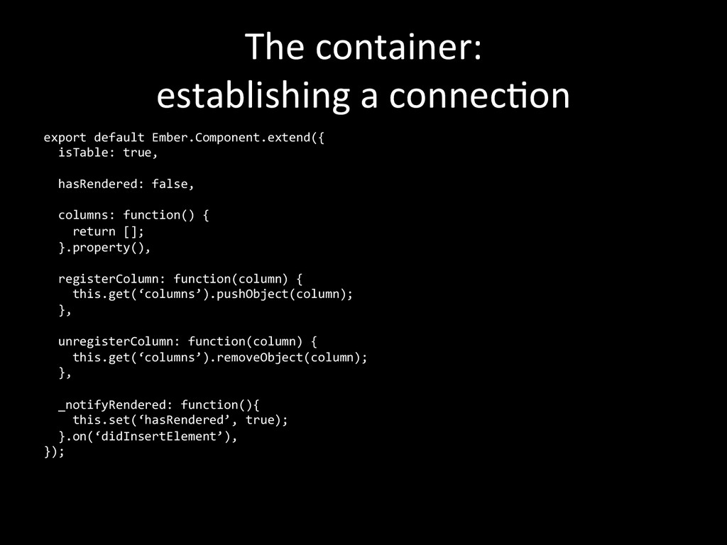 The container:  establishing a conn...