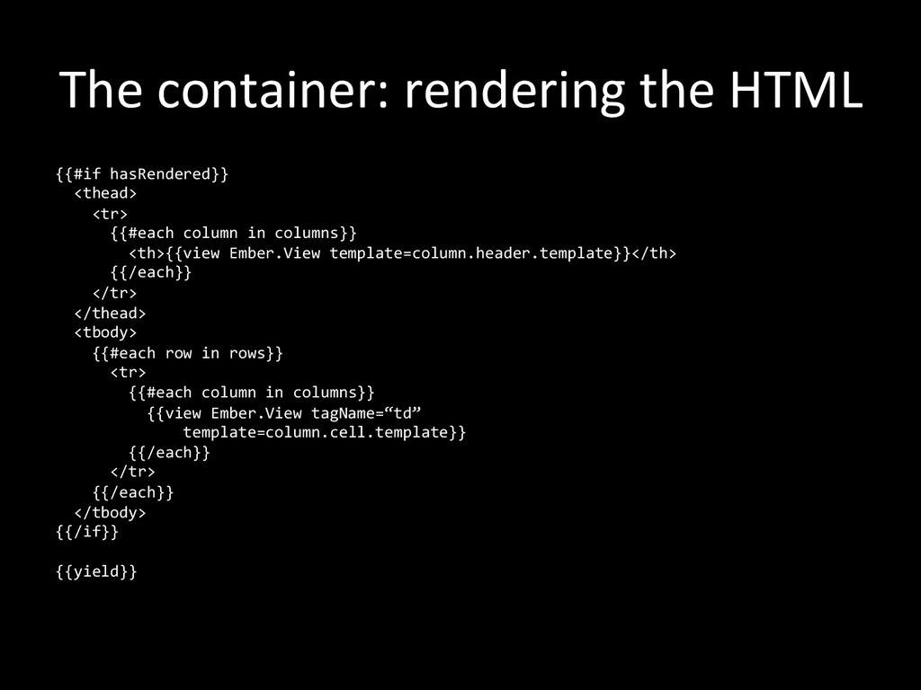 The container: rendering the HTML...