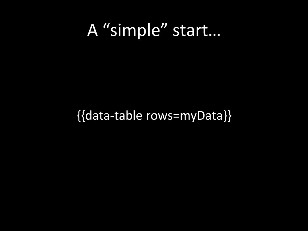 """A """"simple"""" start…  {{data-‐table r..."""