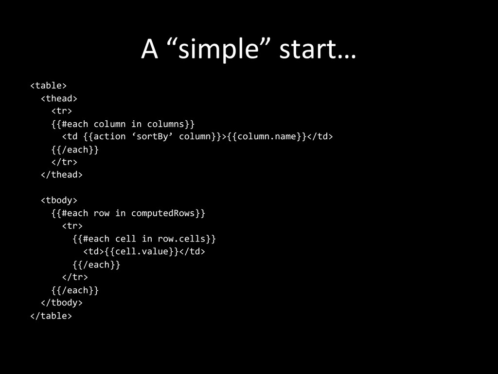 """A """"simple"""" start…  <table>    ..."""