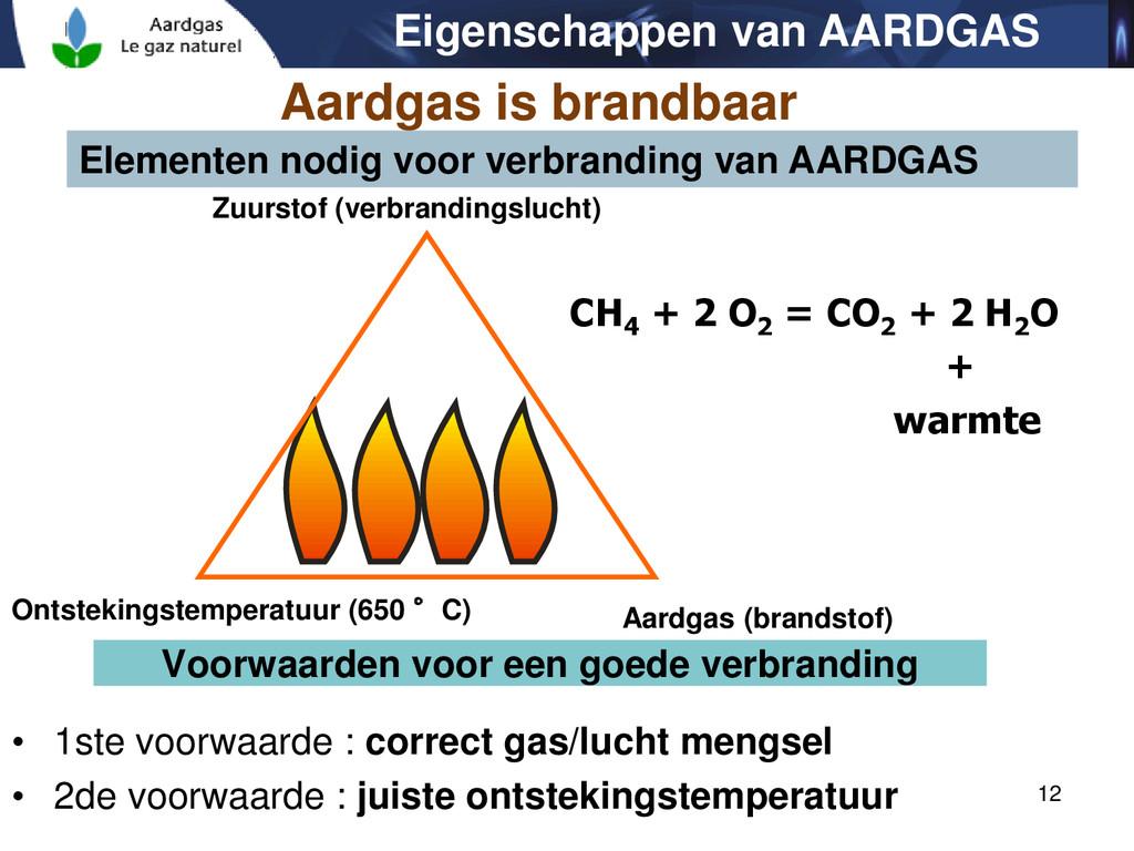 12 Elementen nodig voor verbranding van AARDGAS...