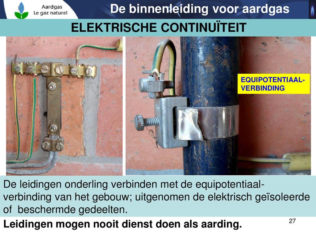 27 De binnenleiding voor aardgas Leidingen moge...