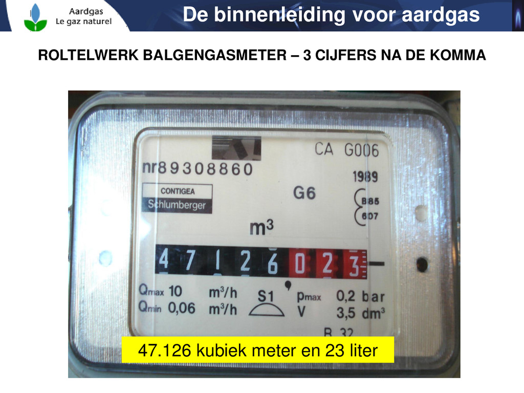 De binnenleiding voor aardgas 47.126 kubiek met...