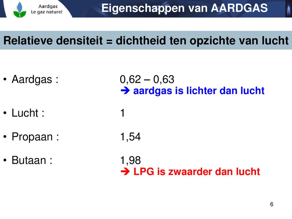 6 • Aardgas : 0,62 – 0,63  aardgas is lichter ...