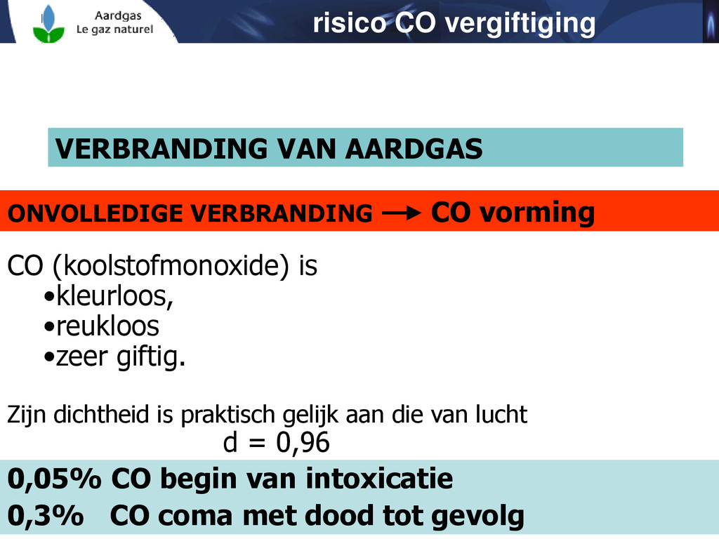 VERBRANDING VAN AARDGAS CO (koolstofmonoxide) i...