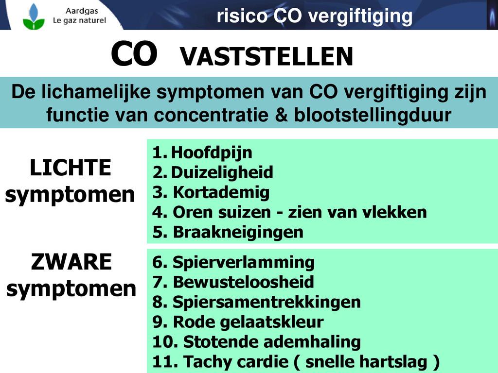 risico CO vergiftiging CO VASTSTELLEN De licham...