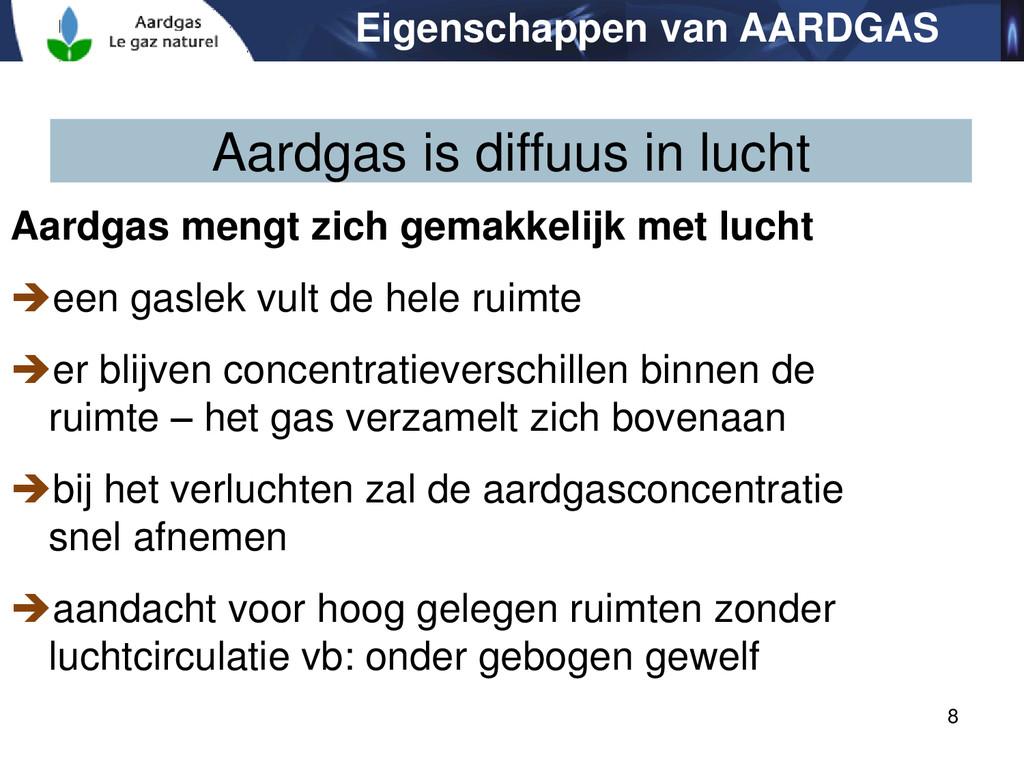 8 Aardgas is diffuus in lucht Aardgas mengt zic...