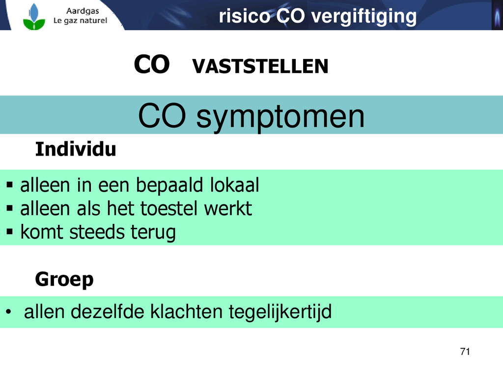 71 risico CO vergiftiging CO VASTSTELLEN CO sym...