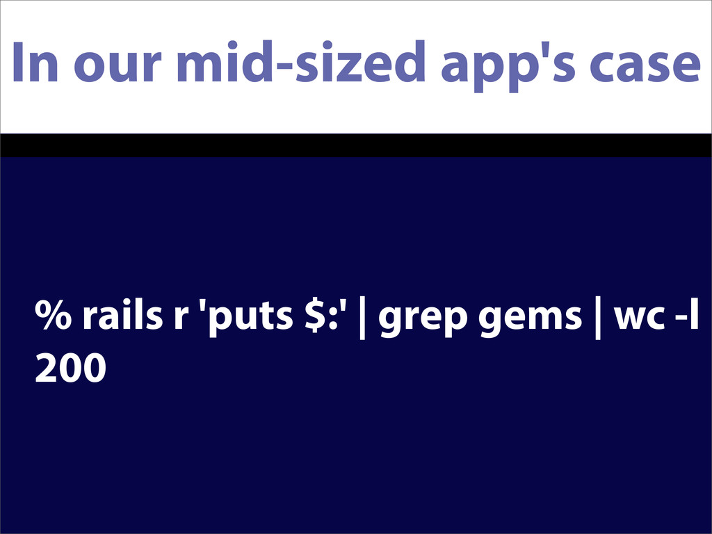 In our mid-sized app's case % rails r 'puts $:'...