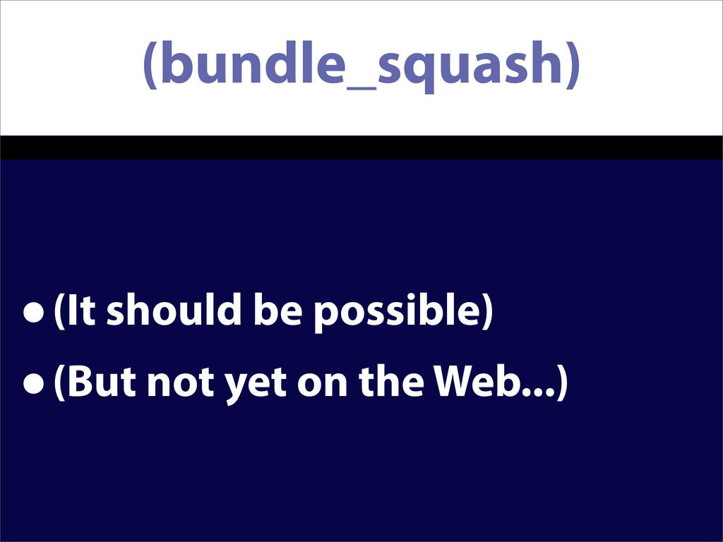 (bundle_squash) •(It should be possible) •(But ...
