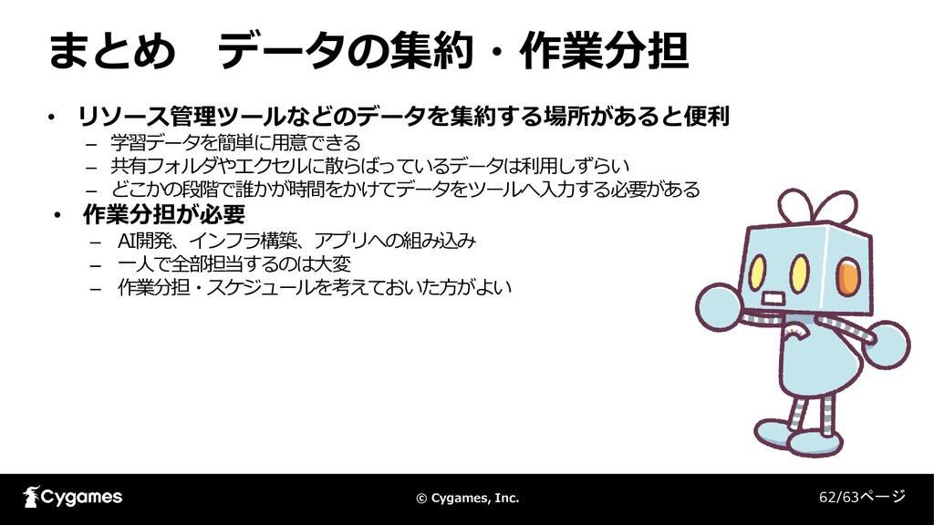 © Cygames, Inc. まとめ データの集約・作業分担 62/63ページ • リソース...