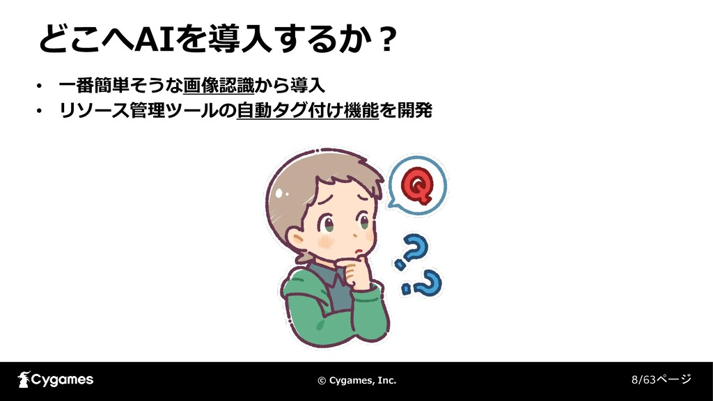 © Cygames, Inc. どこへAIを導入するか? 8/63ページ • 一番簡単そうな画...