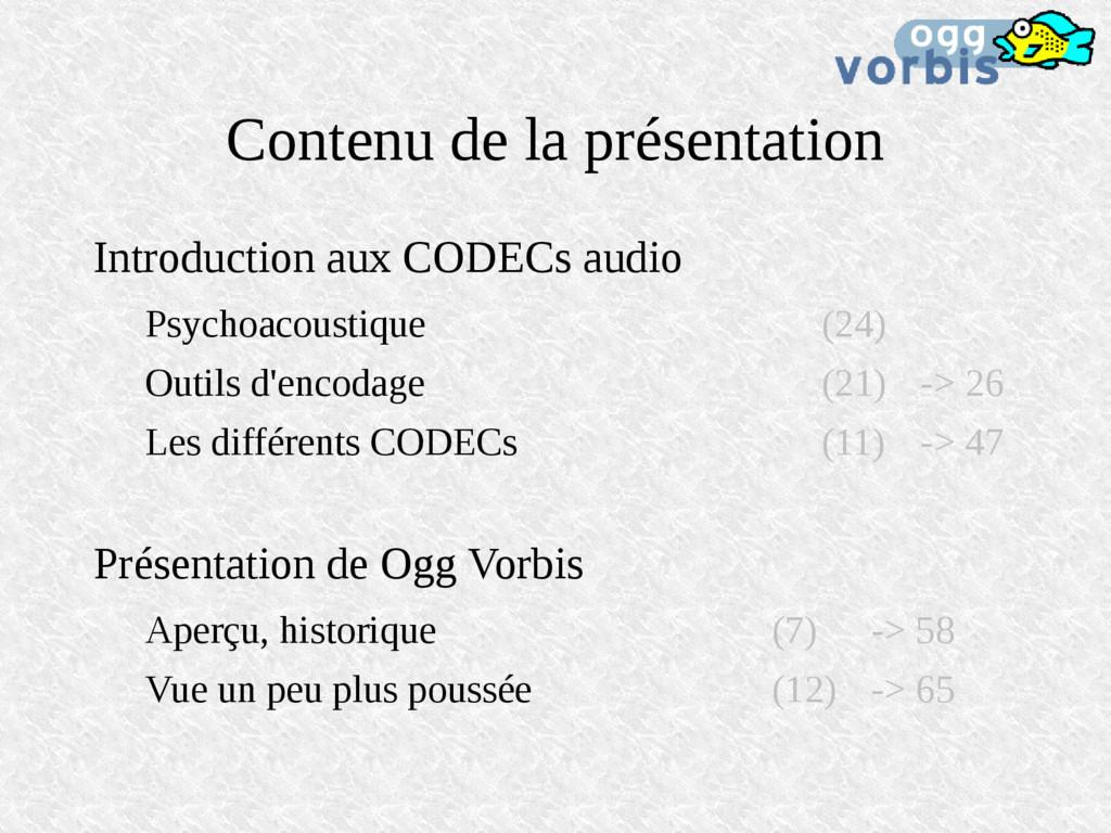 Contenu de la présentation Introduction aux COD...