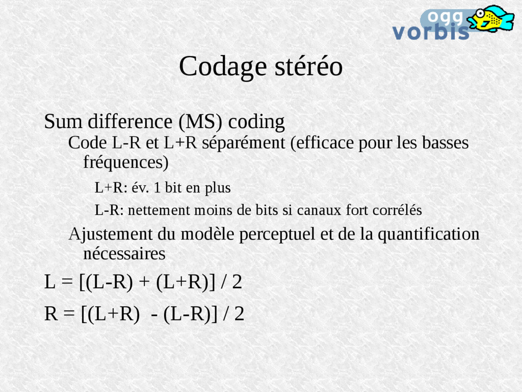 Codage stéréo Sum difference (MS) coding Code L...