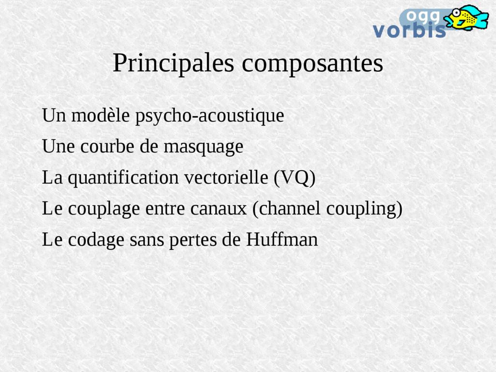Principales composantes Un modèle psycho-acoust...