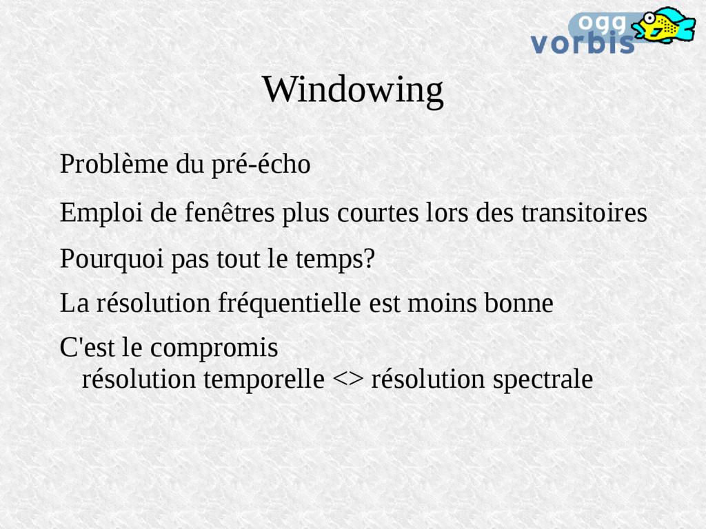 Windowing Problème du pré-écho Emploi de fenêtr...