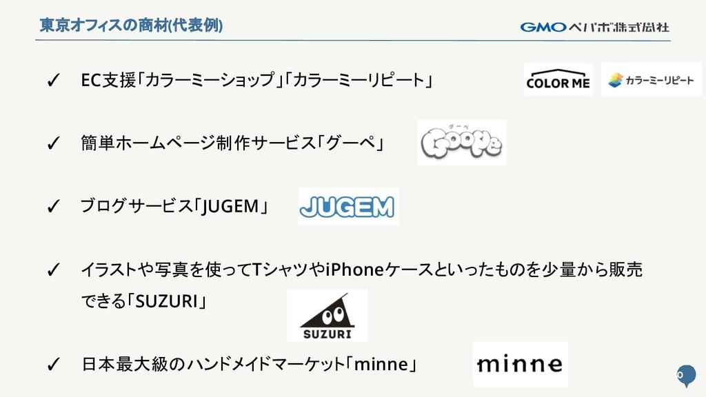 10 10 東京オフィスの商材(代表例) ✓ EC支援「カラーミーショップ」「カラーミーリピー...