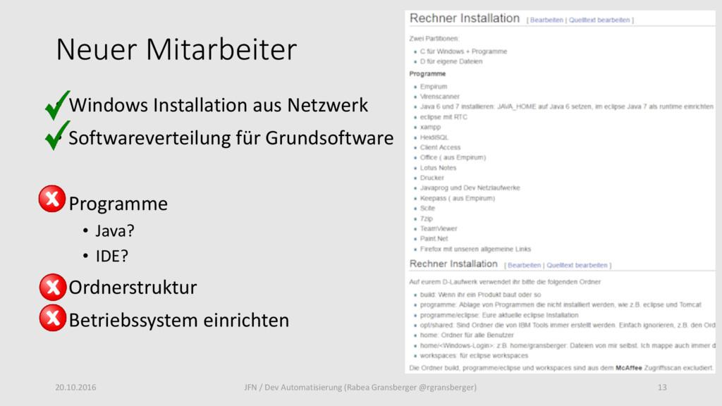 Neuer Mitarbeiter • Windows Installation aus Ne...