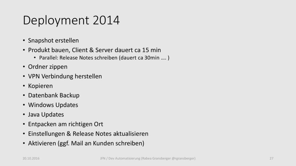 Deployment 2014 • Snapshot erstellen • Produkt ...