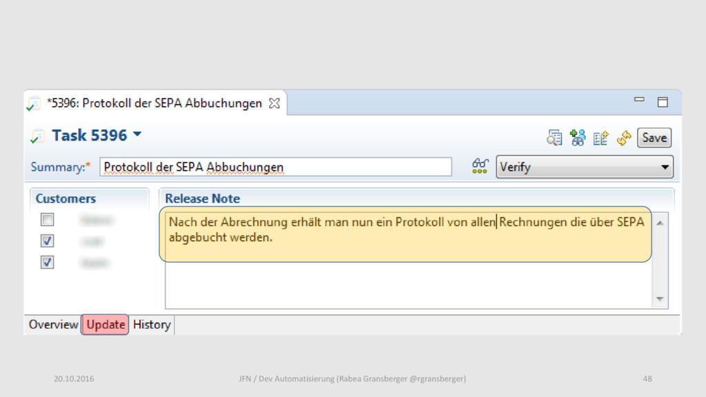 20.10.2016 48 JFN / Dev Automatisierung (Rabea ...