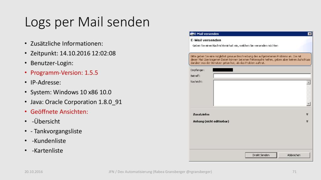 Logs per Mail senden • Zusätzliche Informatione...