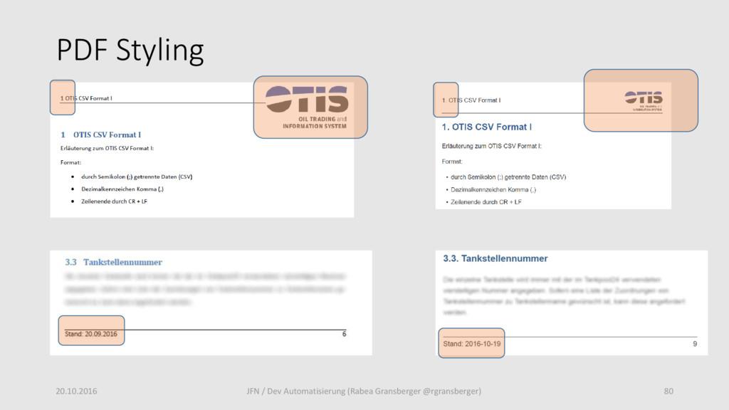 PDF Styling 20.10.2016 80 JFN / Dev Automatisie...