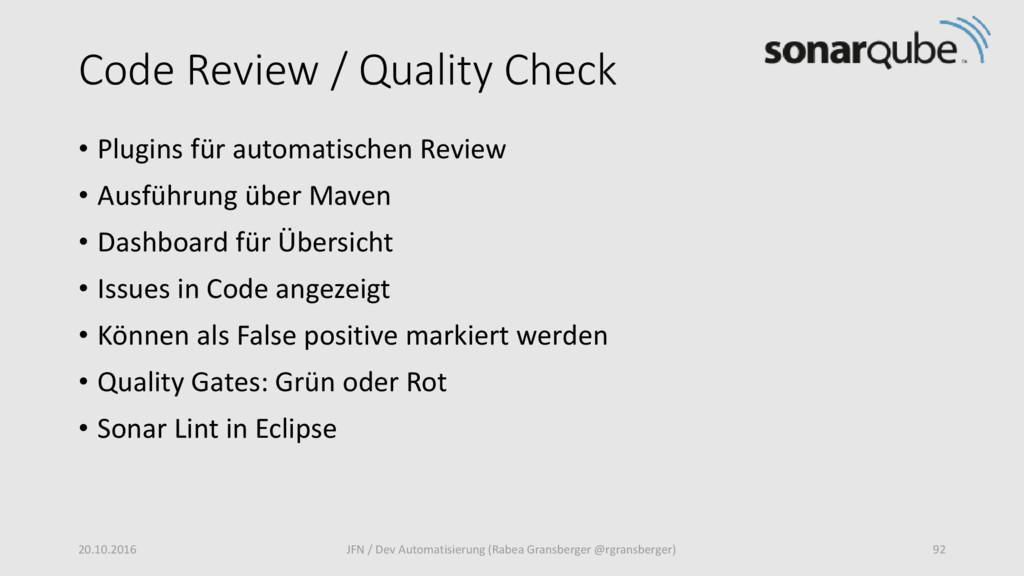 Code Review / Quality Check • Plugins für autom...