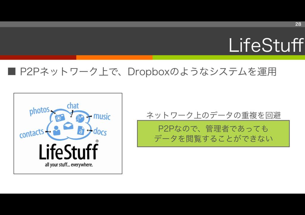 ■ P2Pネットワーク上で、Dropboxのようなシステムを運用 28 LifeStuff P2...