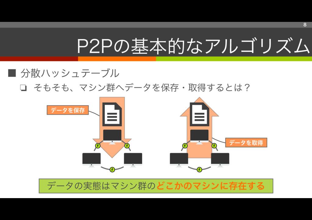 ■ 分散ハッシュテーブル ❏ そもそも、マシン群へデータを保存・取得するとは? 8 P2Pの基...