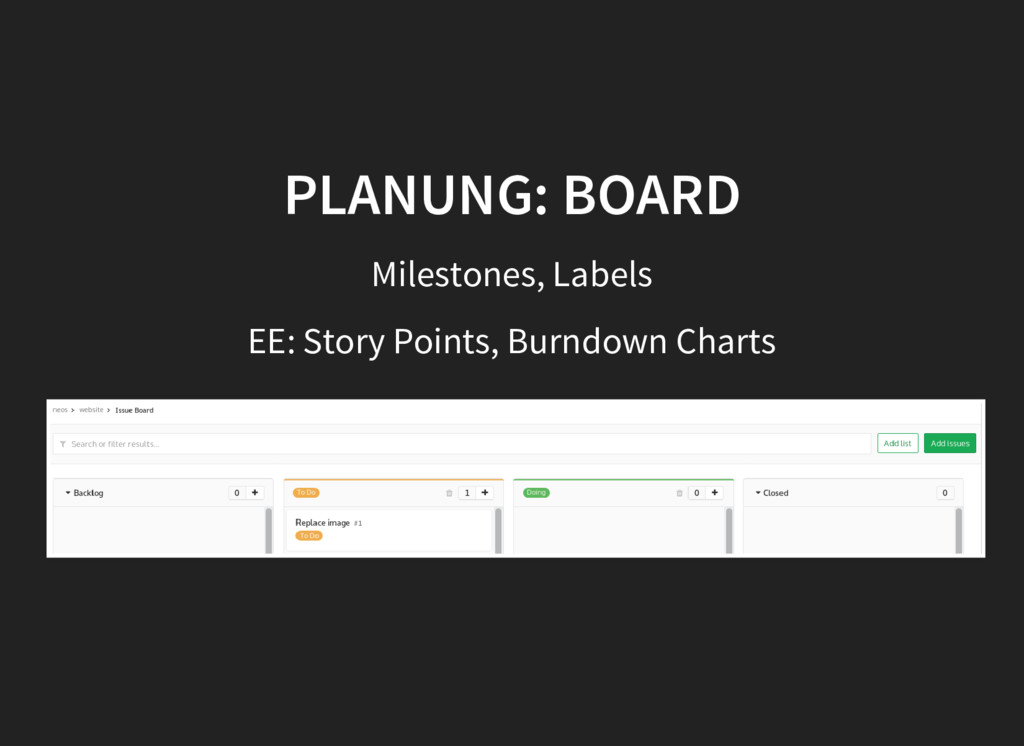 PLANUNG: BOARD PLANUNG: BOARD Milestones, Label...