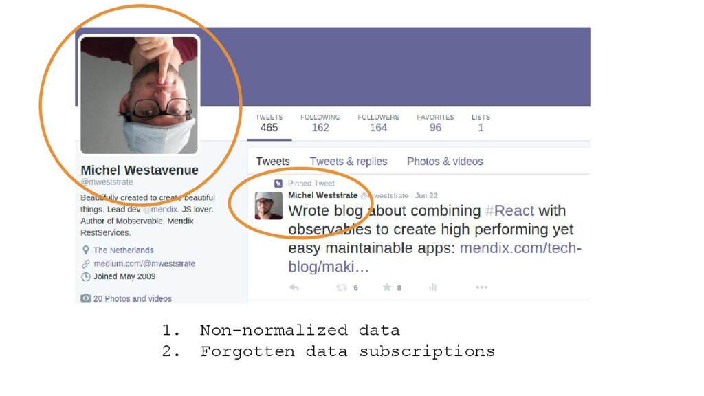 1. Non-normalized data 2. Forgotten data subscr...