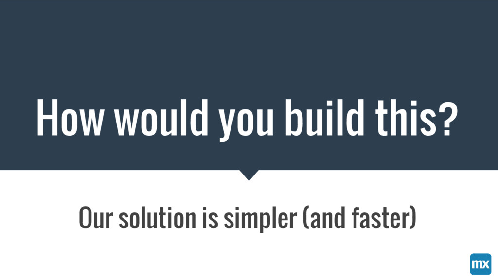 How would you build this? Our solution is simpl...
