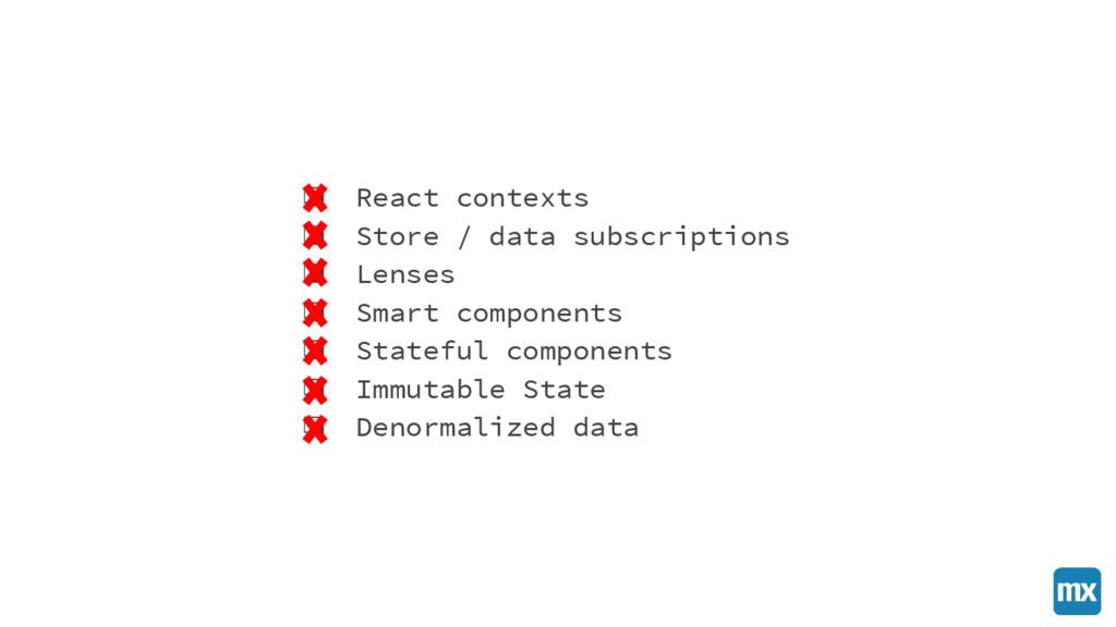 ❏ React contexts ❏ Store / data subscriptions ❏...