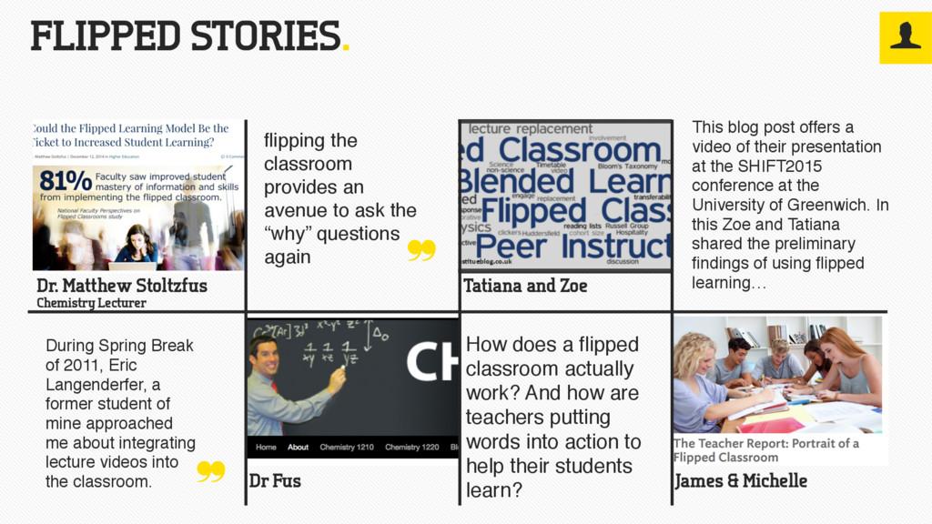 FLIPPED STORIES. Dr. Matthew Stoltzfus Chemistr...
