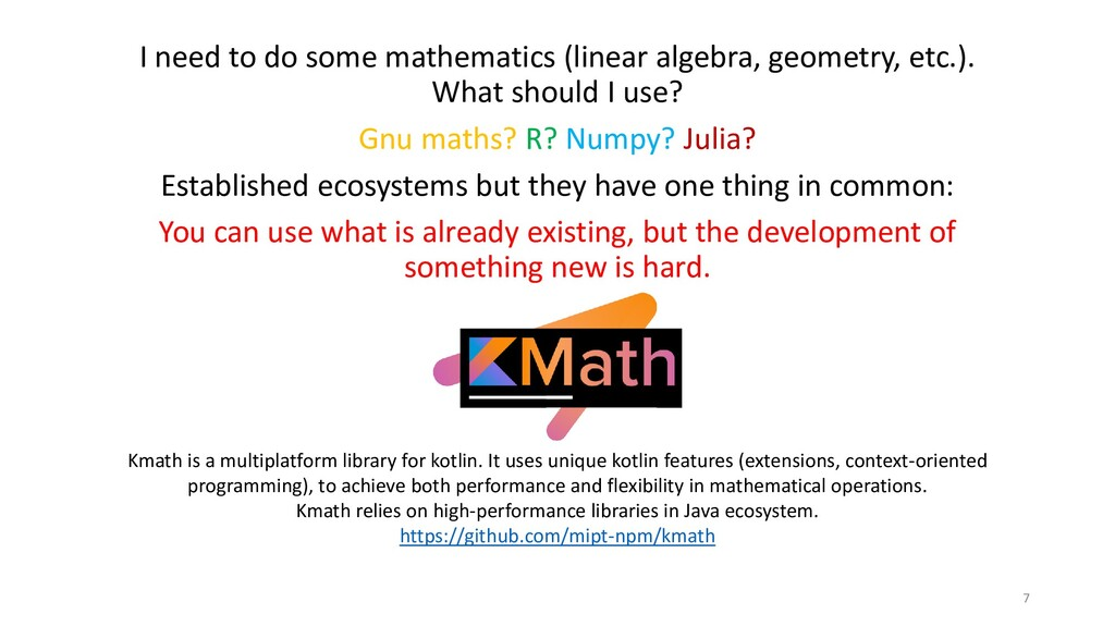 I need to do some mathematics (linear algebra, ...