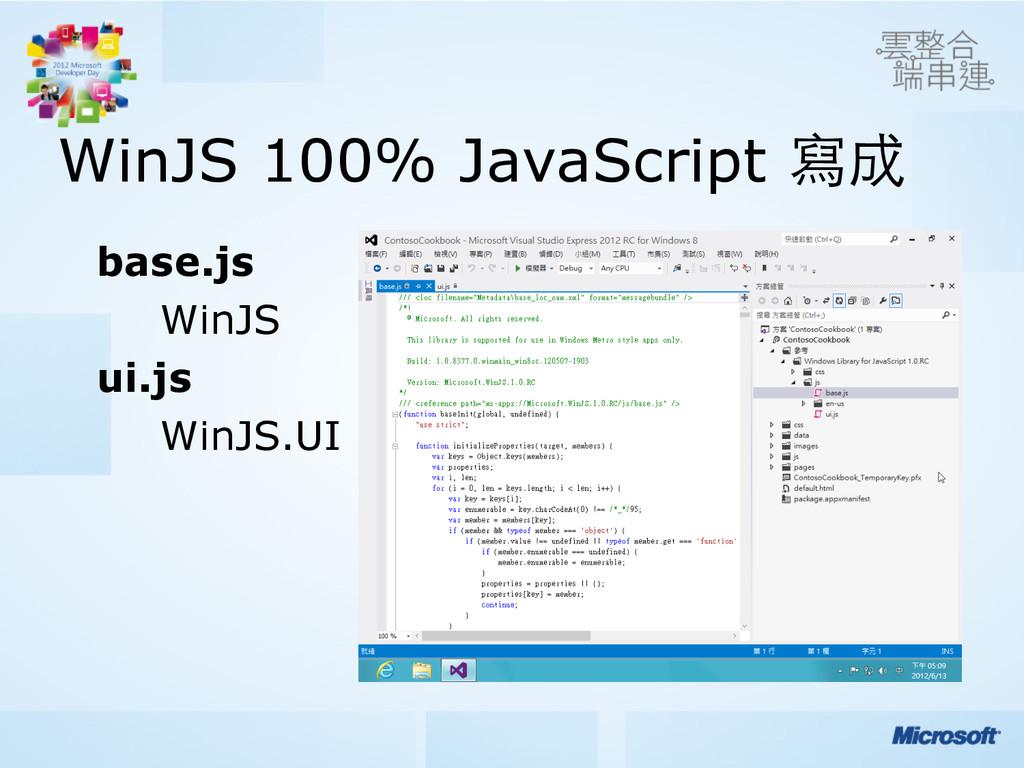 WinJS 100% JavaScript 寫成 base.js WinJS ui.js Wi...