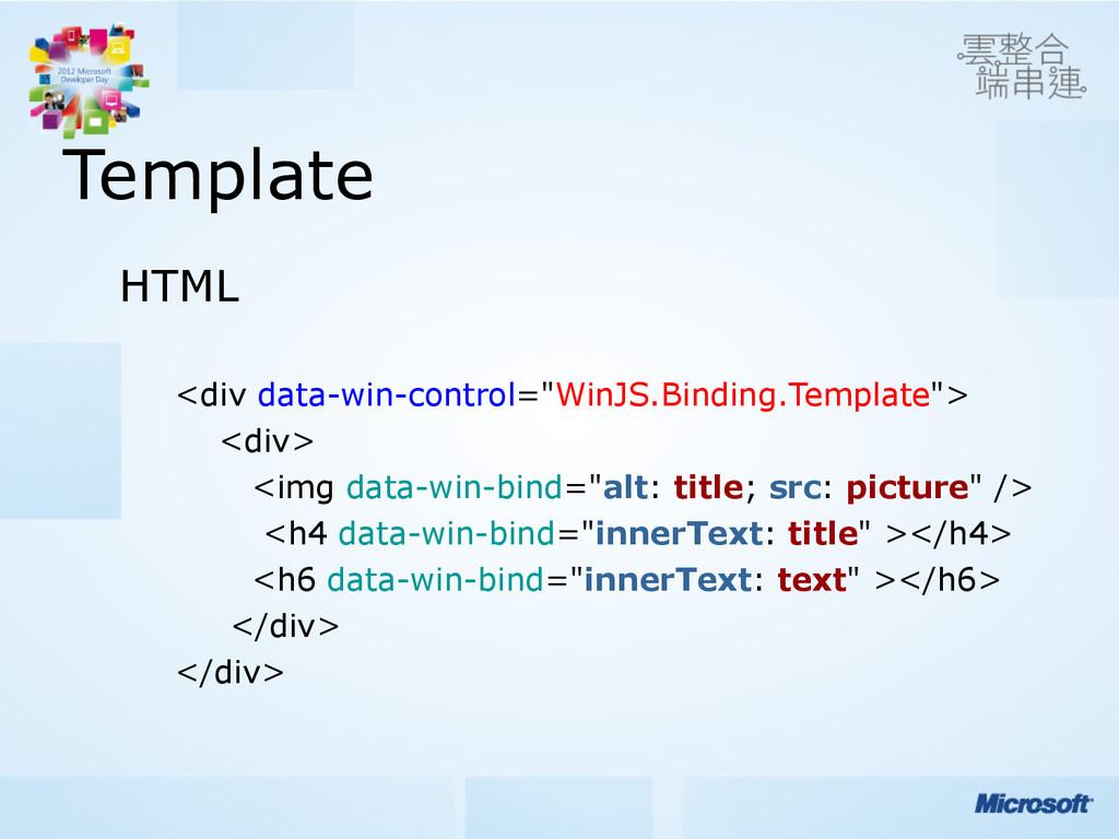 "Template HTML <div data-win-control=""WinJS.Bind..."