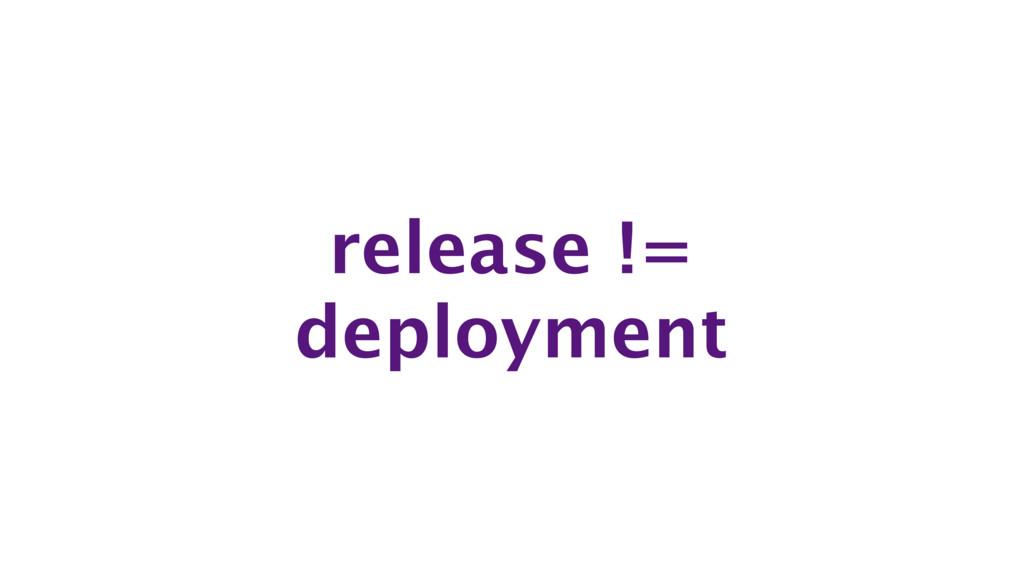 release != deployment