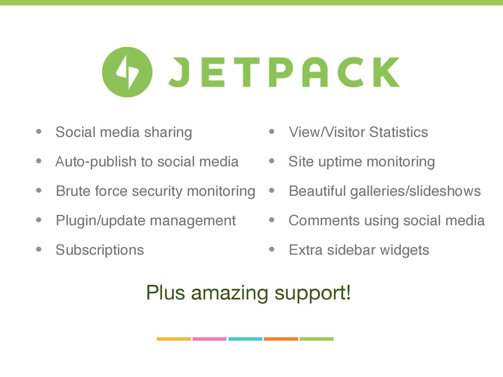 • View/Visitor Statistics • Site uptime monitor...