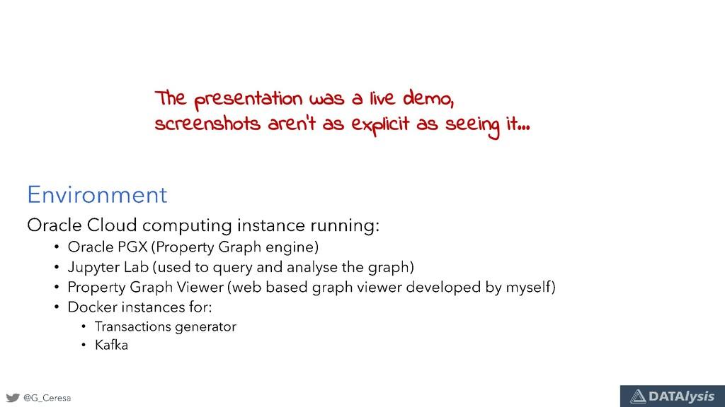 • • • • • • The presentation was a live demo, s...